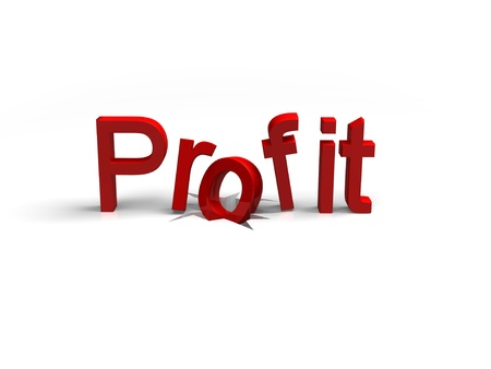 the word profit faaling down a crack to symbolise a slump in profit Stock Photo - 16967580