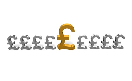 a selected gold pound sign being picked from s row of silver pound sign Stock Photo - 16967642