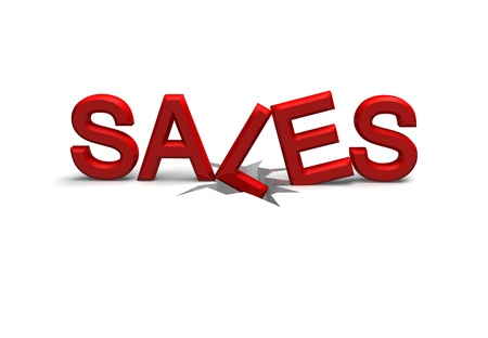 assume: the word sales is falling down a crack to assume a loss in sales made as a 3D render