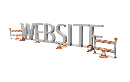 an image of the word  website  surround by constrcutions cones and barriers to symbolise website maintenance