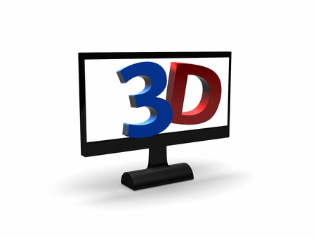popping out: a screen with 3D in red and blue popping out of it