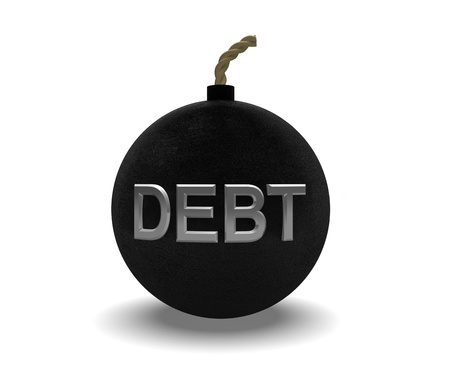 black textured debt bomb on a white background Stock Photo - 17289519