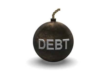 iron textured debt bomb on a white background Stock Photo - 17289517