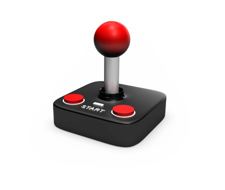 Image of a rtero joystick on a white background with a wire
