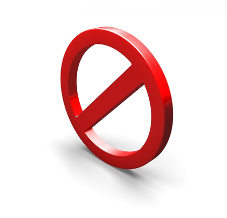 a 3D  no sign  in red on a white background Stock Photo
