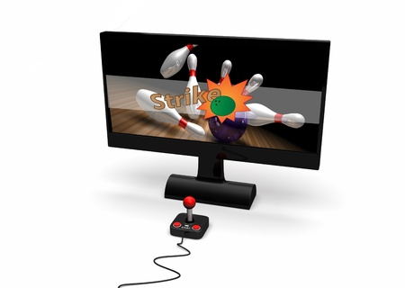 played: an image of a video game being played on a computer screen with a joypad  Stock Photo