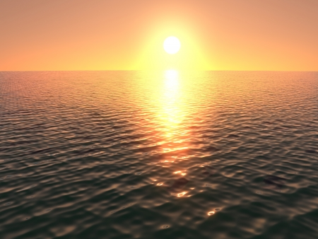 3d render of a sun setting over an ocean with lovely warm colours