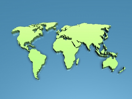 The world map in 3D on a flat blue background