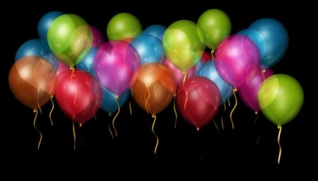 A large group of balloons floating against a black backgroud for easy cutting out  Stock Photo