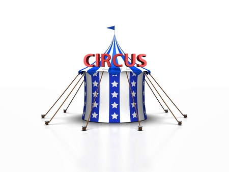 a cute blue and white circus tent against a white background with a reflection
