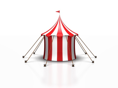 a cute red and white circus tent against a white background with a reflection Stock Photo - 19404367