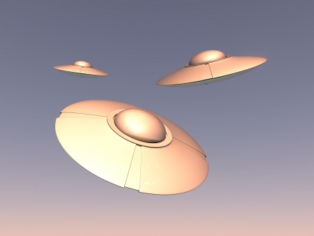 high detailed UFO spaceships flying in the sky at sunset  photo