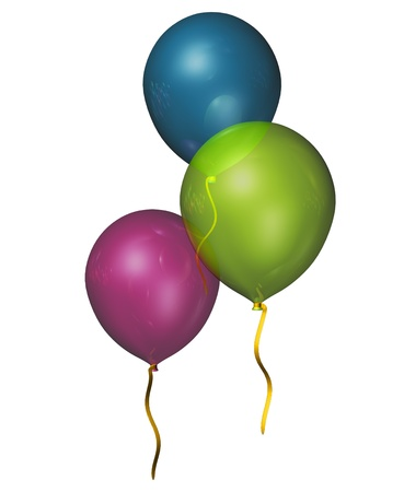 party balloons in purple,blue and green  floating against a white background  Stock Photo - 19404362