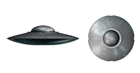 UFO spaceship on a white background front a side perspective and plan perspective photo