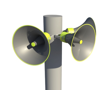 three megaphones together around a post  ready to broadcast information out