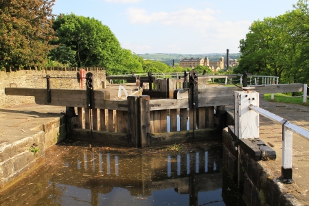 An image of a canal water lock used for getting barge boats up steep inclines on canals Stock Photo