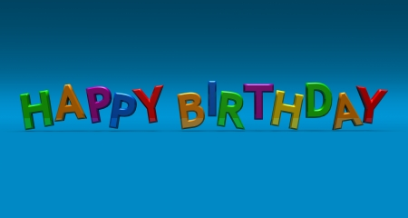 Happy birthday in 3D lettering in bright colors on a blue background Stock Photo
