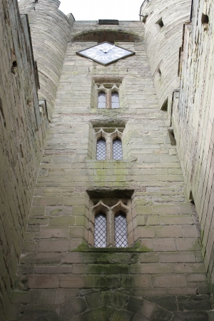 Upright view of medieval windows on an English castle
