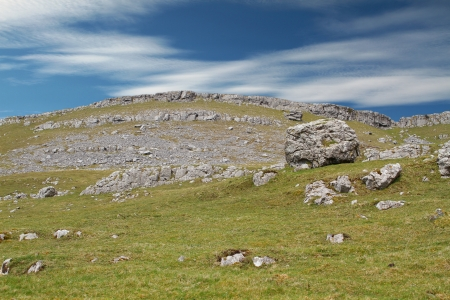 Landscape, England, Uk, Mountainous, hilly, rocky, grass, sky, clouds, rocks, background, green , blue, heritage,  Stock Photo