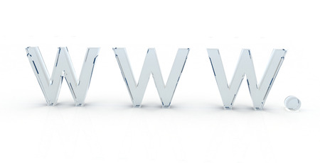 3D WWW letters in a glass material