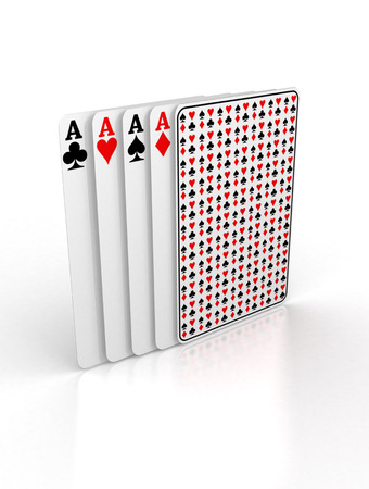 Playing cards on a white background ready for being used in gambling.