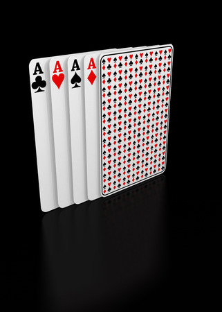 Playing cards on a black background ready for being used in gambling. Stock Photo