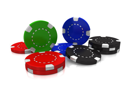 Casino gambling chips against a white background with shadows and reflections.