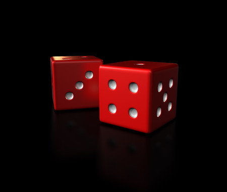 red dice sit against a black background symbolic to gambling and casino games