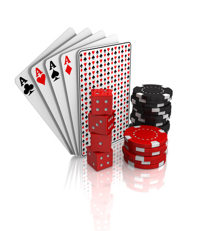 Casino gambling dice, chips and cards sit against a white background.
