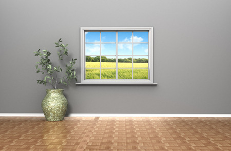 a 3D living room with a single window looking out on a summers day