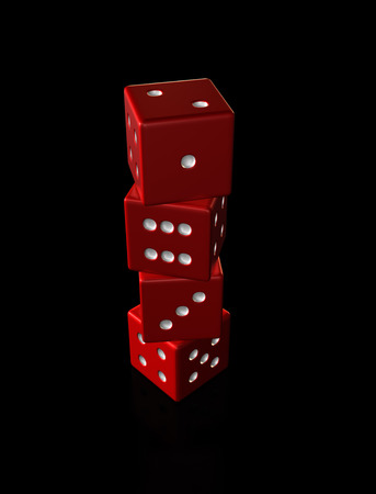 four red dice stacked on top of each other against a black background with reflections.