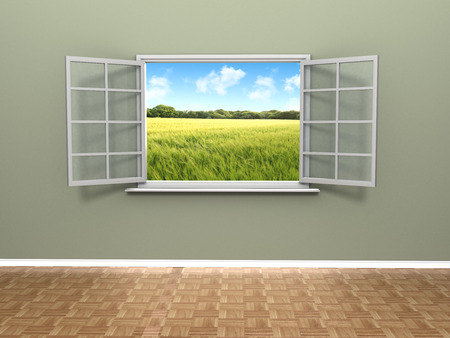 A beautiful view from an open window inside a house showing a scenic farmers field with blue skies. Stock Photo