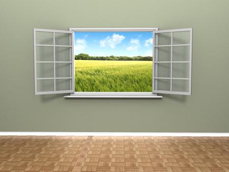 ventana abierta interior: Una hermosa vista de una ventana abierta en el interior de una casa que muestra un campo de agricultores esc�nicos con cielos azules. Foto de archivo