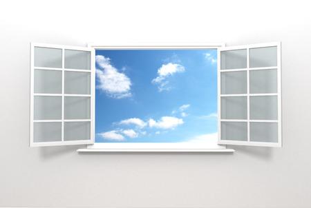 ventana abierta interior: Una hermosa vista de una ventana abierta en el interior de una casa que muestra un pintoresco paisaje nube exterior.