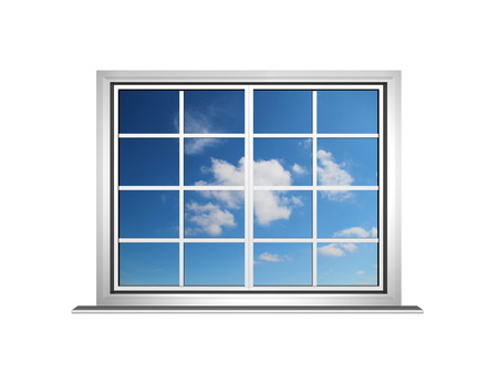 a lovely blue sky showing through a white Georgian style window with glass Stock Photo