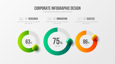 Amazing business infographic presentation vector 3D colorful balls illustration. Corporate marketing analytics radial bar design layout. Company statistics information graphic visualization template.