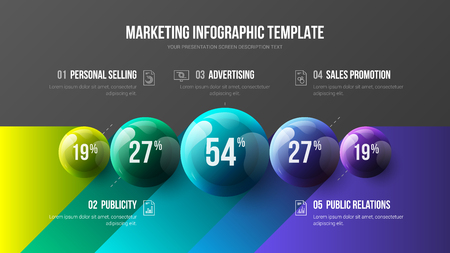 Amazing business infographic presentation vector 3D colorful balls illustration. Corporate marketing analytics data report design layout. Company statistics information graphic visualization template. Imagens - 109434750