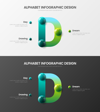 Amazing vector alphabet infographic 3D. Creative bright multicolor character design illustration layout. Modern art symbol visualization template set.
