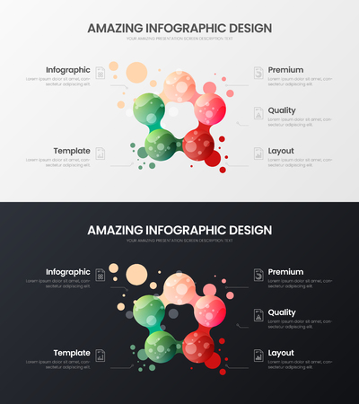 Premium 5 option marketing analytics presentation vector illustration template set. Creative business data visualization design layout. Amazing colorful organic statistics infographic report bundle.