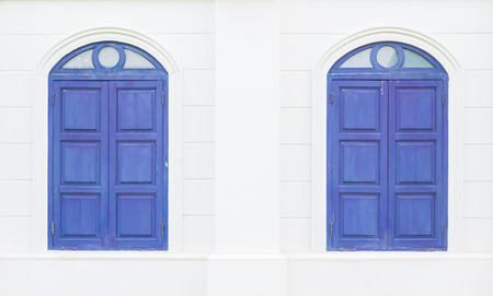 colorfu: Bluw Twin Windows Stock Photo