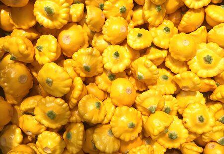 Bunch of fresh yellow patissons Imagens