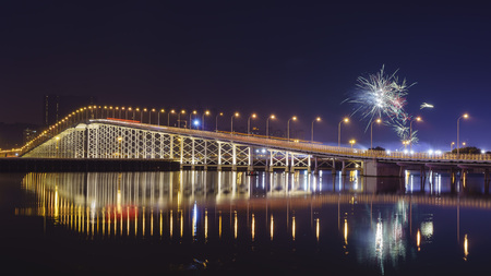 governor: Governor Nobre de Carvalho Bridge with fireworks during Chinese New Year, Macau