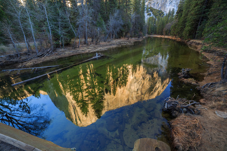 ei: EI Captain reflection at Yosemite National Park, California, USA Stock Photo