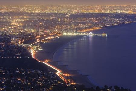 santa monica: Santa Monica bay night scene from top
