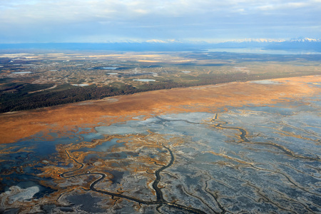 anchorage: Flying from Fairbanks to Anchorage, shooting high in airplane