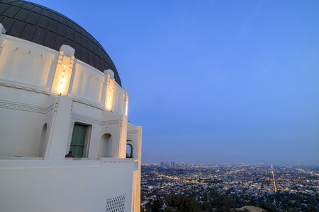observatory: Griffin Observatory and Los Angeles downtown, twilight Editorial
