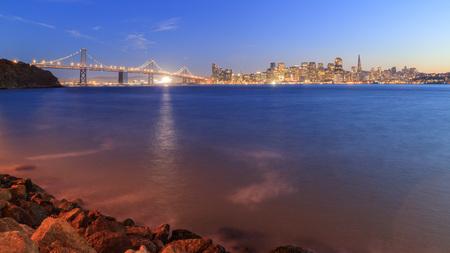 san francisco: San Francisco – Oakland Bay Bridge with lights Stock Photo