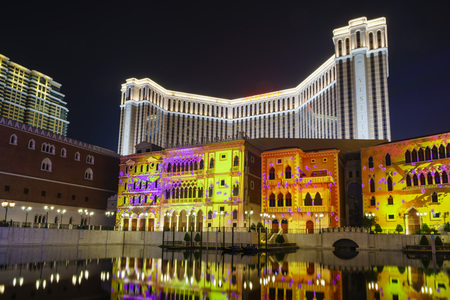 light show: Light show and water reflection at Venetian Macao