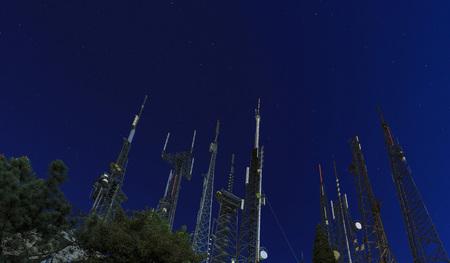Night starry sky and high antenna Stock fotó