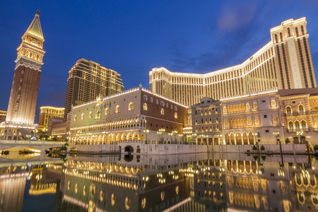 twilight: The east casino world - Macau, golden building with blue sky in twilight time